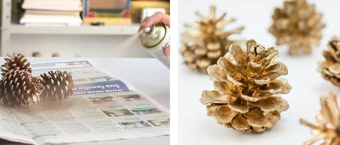 decoracao de natal Pinhas douradas