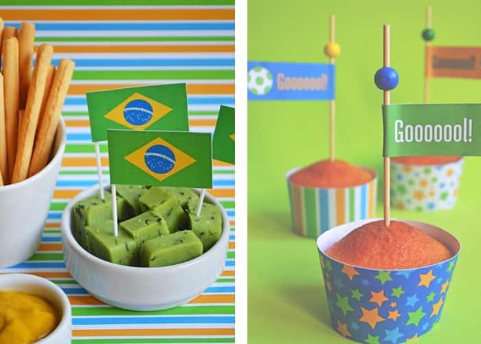 decoração de mesa para copa toppers futebol