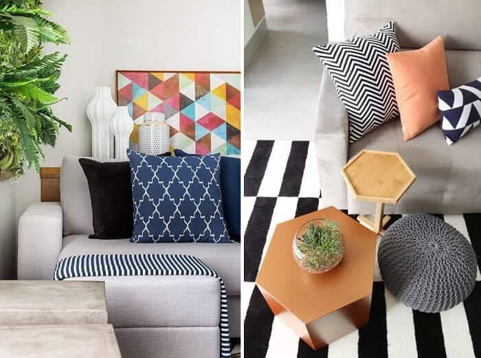 Decoração da sala de estar almofadas