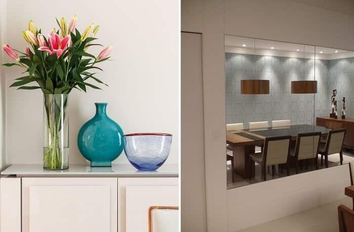 Decoração da sala de estar vasos e espelho