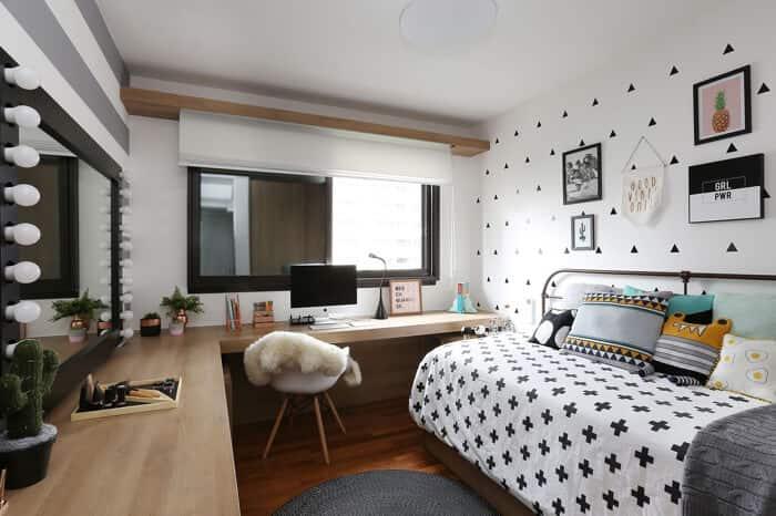 quarto de solteiro descolado preto e branco
