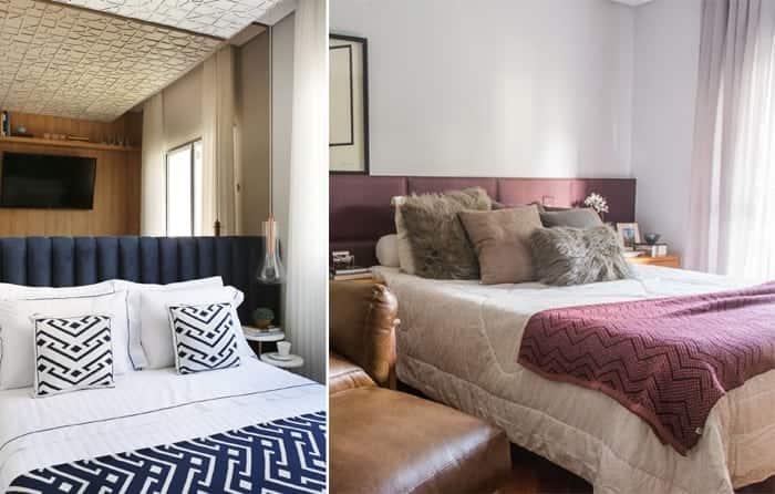 cabeceiras na decoração do quarto almofadadas