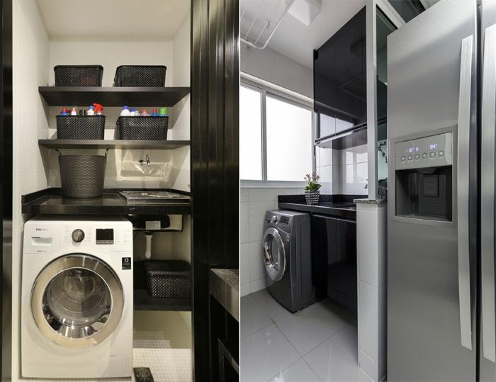 espaço da lavanderia cestos